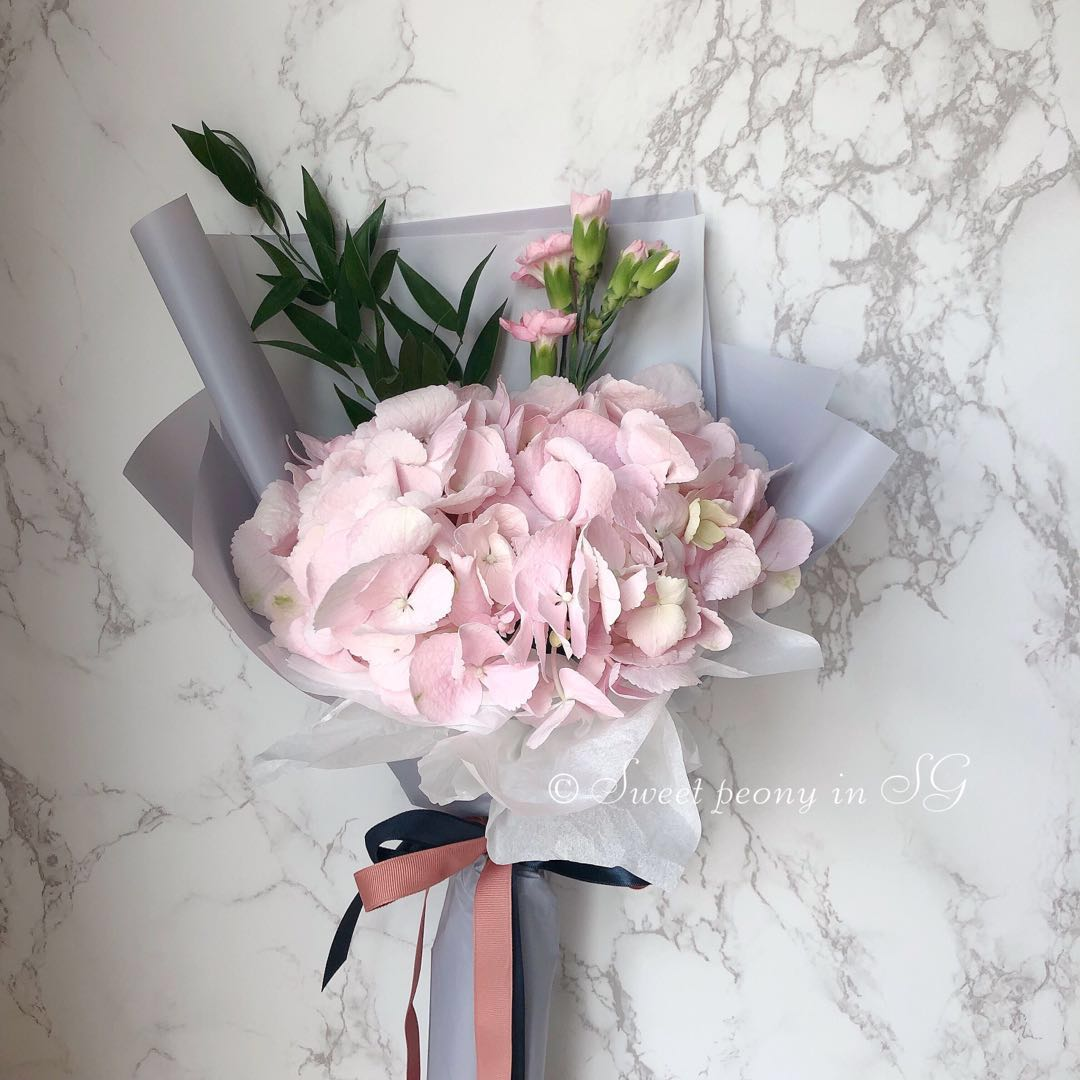 Korean Style Fresh Flower Bouquet Fluffy Hydrangea Small
