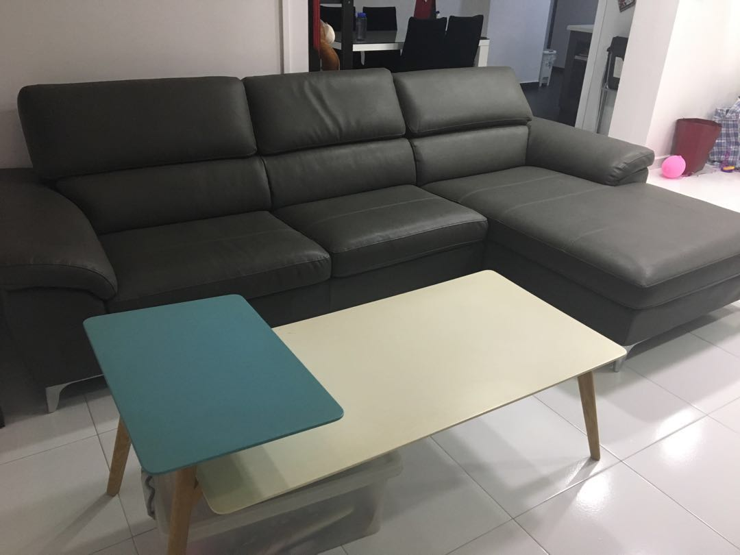 L Shape Sofa Dark Grey With Coffee Table Furniture Sofas On Carousell
