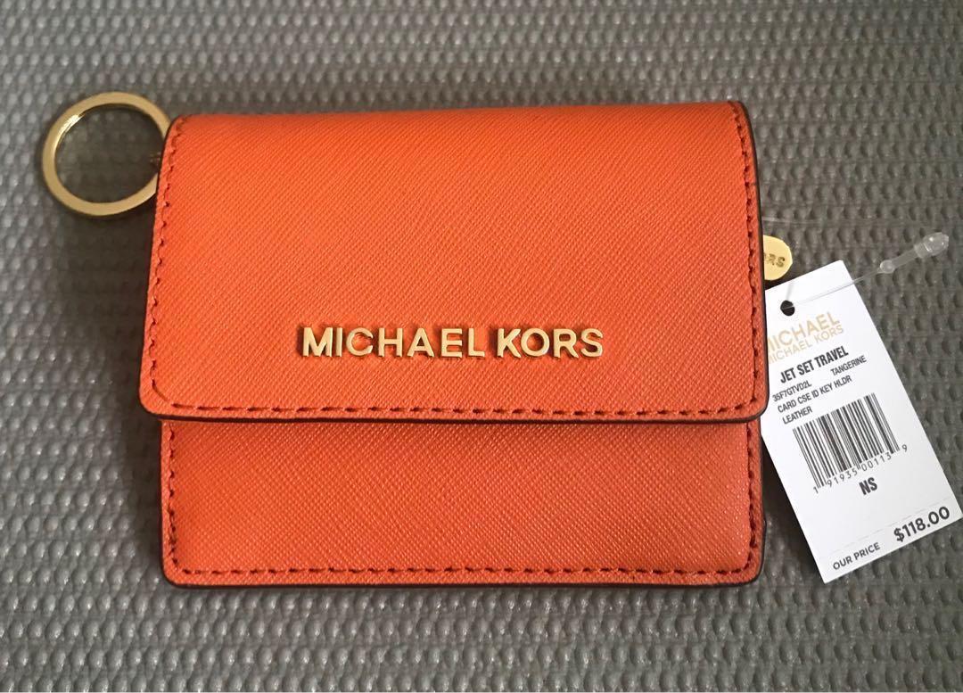 half off f7b76 3c52e Michael Kors Jet Set Travel Card Case ID Key Holder in Orange on ...