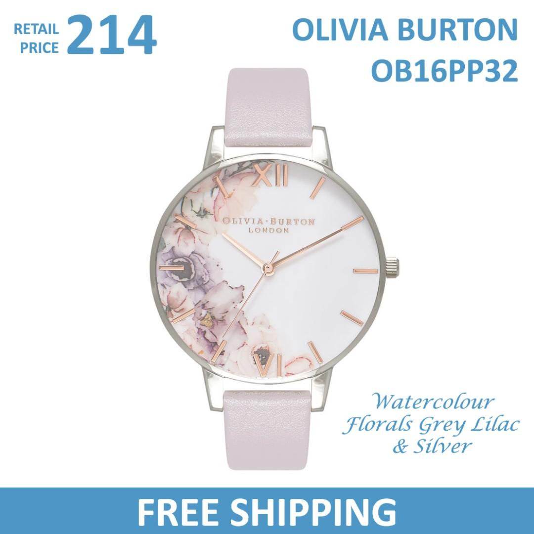 32dcd69e7c07 Olivia Burton Ladies Watch Watercolour Florals Grey Lilac   Silver ...