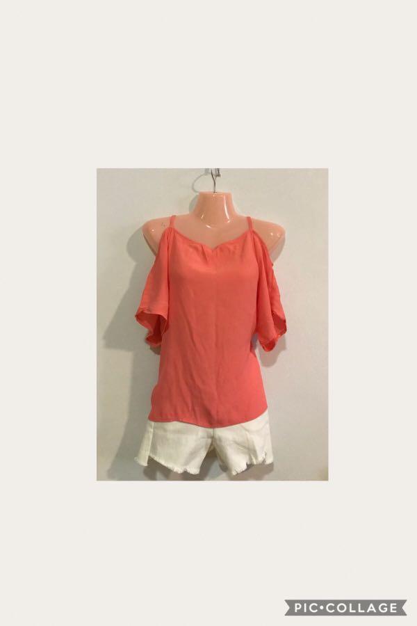 2da440e4de9 Orange cold shoulder top, Women's Fashion, Clothes, Tops on Carousell
