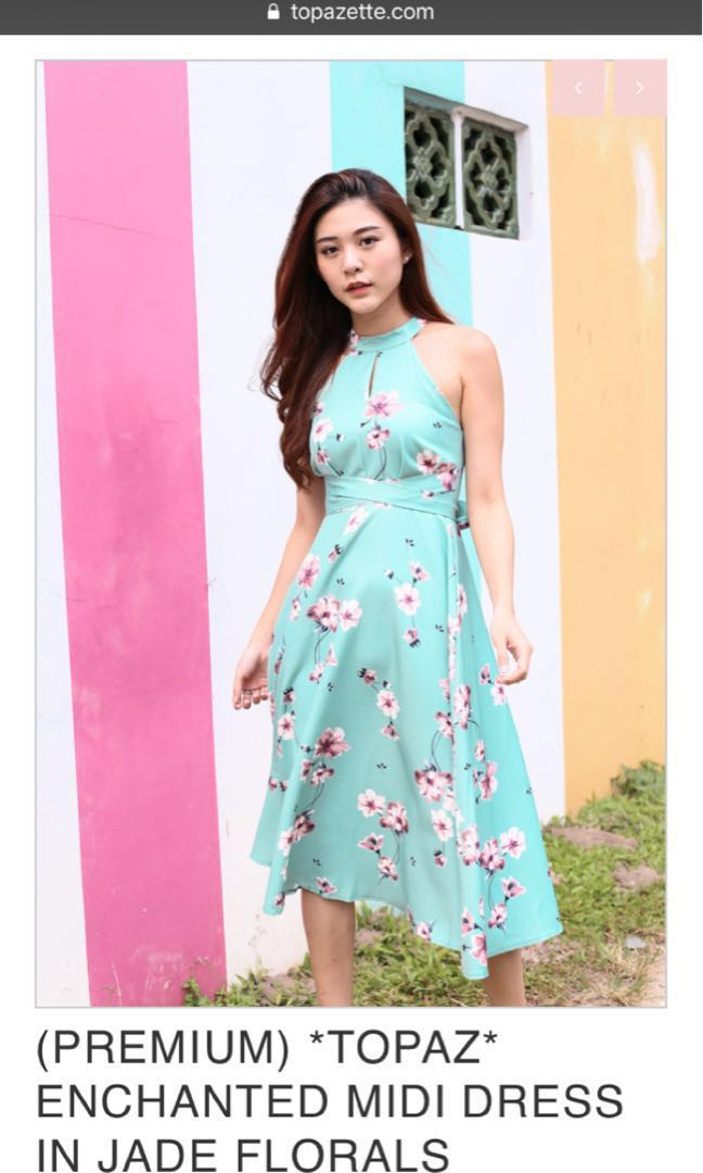 7516532e8ad62 Topazette enchanted midi floral dress in jade, Women's Fashion, Clothes,  Dresses & Skirts on Carousell