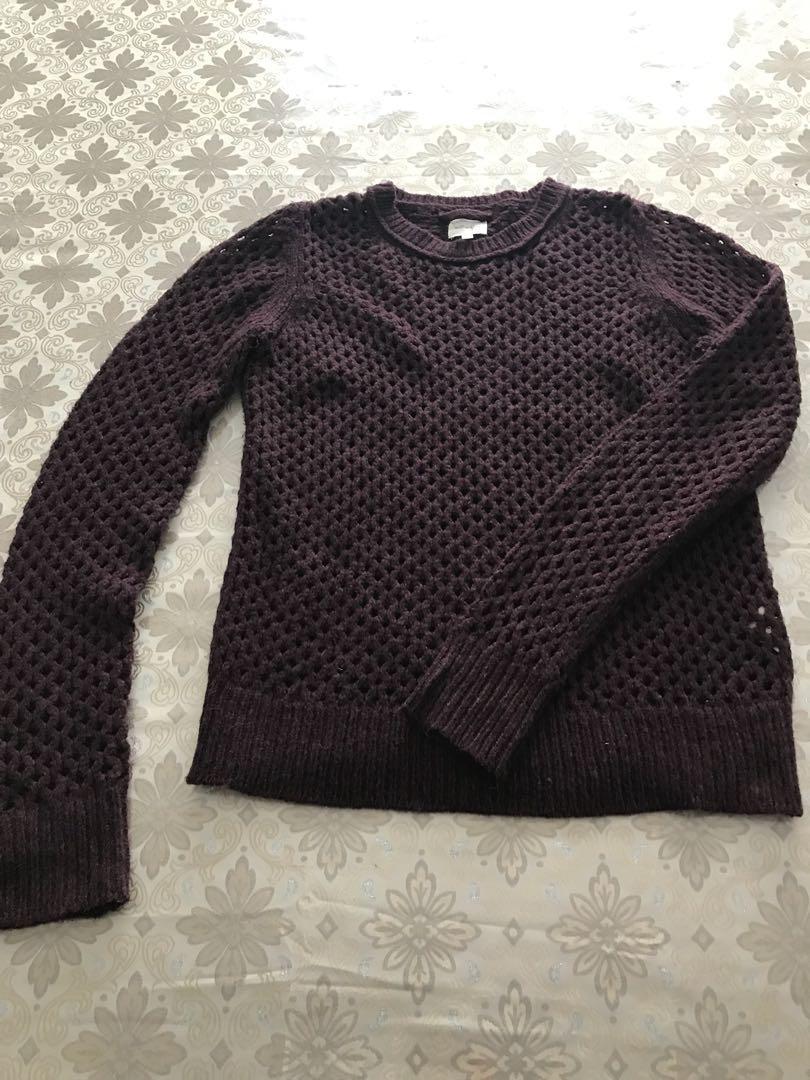 Wilfred maroon knit sweater. Size medium. Never worn