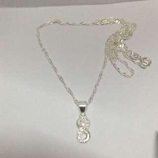 Genuine 925 Sterling Italy Silver Infinity Necklace