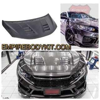 Honda Civic 2018 Carbon Fibre Vented bonnet