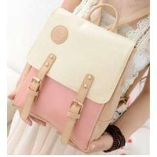 Leather Pastel Color Backpack