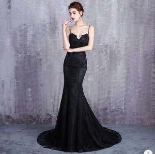 Black Lace Formal Dress Backless