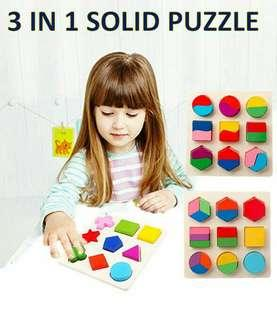 3 in 1 wooden puzzle