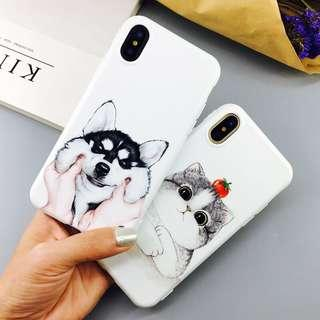 husky and cat phone case (soft cover)