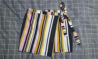 Yellow/Pink/B&W Striped Tie Front Skirt
