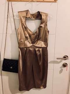 SML silk gold party dress