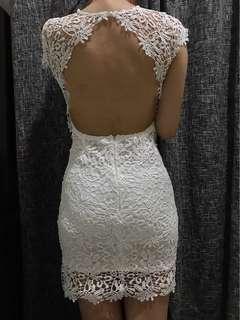 Korean White Backless Lace Dress