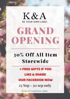 Grand opening 30% off storewide!