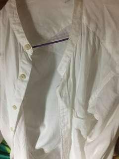 Uniqlo 無領 白色 裇衫