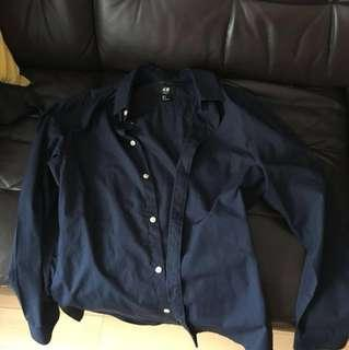 H&M shirt 深藍 slim fit