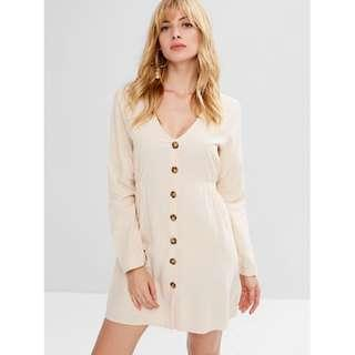 ZAFUL Sleeved Button Up mini dress
