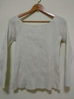 🚚 二手白色厚針織上衣