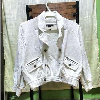 MANGO Sparkling White Casual Sportswear Button Down Jacket
