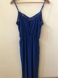 f21 blue wide leg jumpsuit
