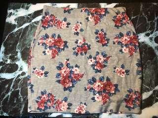 Grey floral bandage skirt