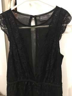 Black lace / mesh insert bodysuit