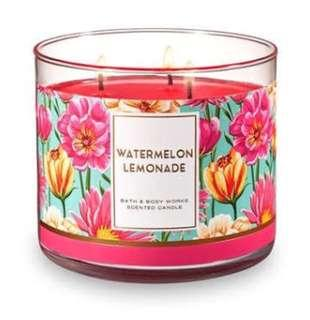 Bath and Body Works 3 wick Candle Watermelon Lemonade
