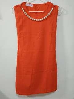 🚚 橘色雪紡洋裝/上衣