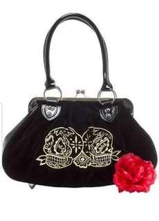 Lux De Ville sugar skull handbag