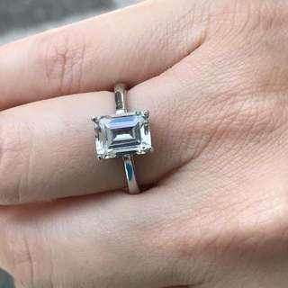 2.5cts Emerald Cut Signity Ring