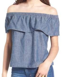 Levi's Chambray Off The Shoulder Denim Top (size: medium, tags on, original $69)