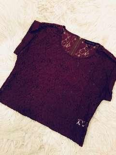 Burgundy lace top with zipper details in back