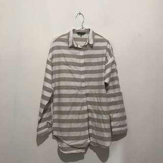New Look Oversize Shirt ( White brown )