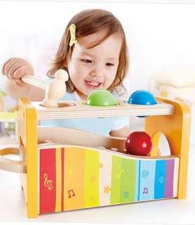Hape Pound and Tap Bench Xylophone Hammer and Wooden Balls