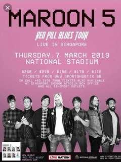 Maroon 5 Red Pills Blue Tour Live in Sg Cat 4 Tickets