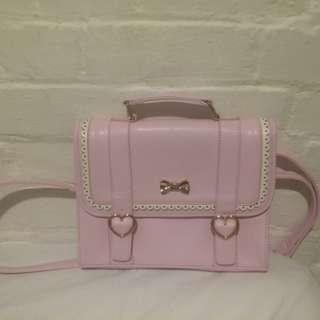 Pink Frill Ribbon Heart Lolita 3-Way Bag