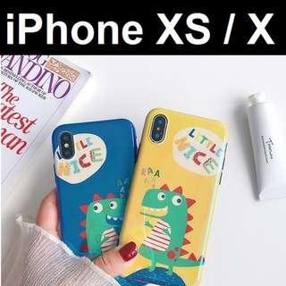 🚚 iPhone XS / X Cute Dino Anti Blue Ray Design Case Casing