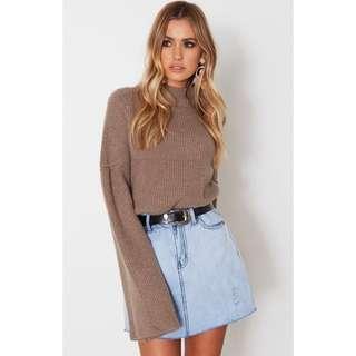 Whitefox Boutique Mocha Warm Winter Knit Sweater Jumper Bell Sleeves XS/S