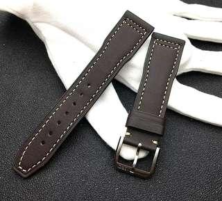 INSTOCK IWC 21MM Aviator Coffee Brown Leather Watch Strap