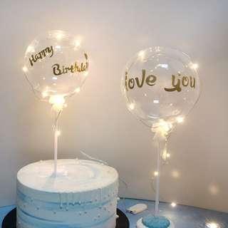 Happy Birthday Balloon/ Fairy Lights Cake Topper