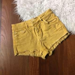 Bershka mustard yellow shorts