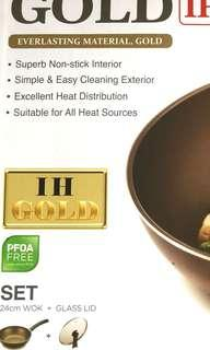 Happy call gold 24cm wok with lid