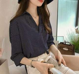 Korean Style Basic Blue and White Stripes Loose Blouse / Collar Top