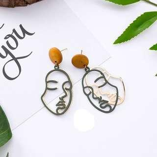 (FREE POS) Stylish Face Green and Gold Korean Earring