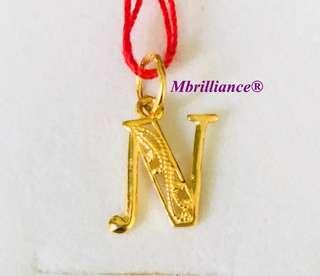 Alphabet N Pendant 22k / 916 solid Yellow Gold Pendant