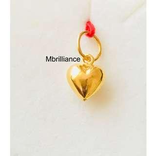 Puffy plain Heart Pendant 22k / 916 solid Yellow Gold Pendant
