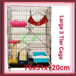 Cat Cage Kitten Cage Rabbit Cage Bird Cage Dog Cage  Large 3 Tier Pet Cage COLLAPSIBLE Foldable, no hammock cat condo tree Scracth food bowl pet carrier kitten  cat litter