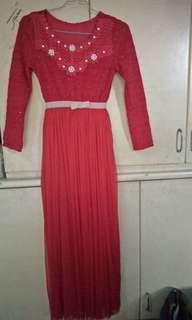long dress brukat bawahan furing