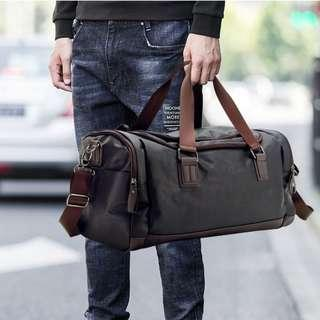 Men's PU Leather Duffel Tote Carry On Travel Gym Sports Bag