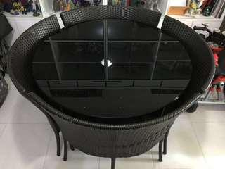 [REPRICED!] Round Dining Table Rattan Weave Style 4 Seater