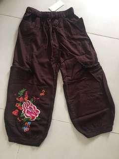 Pants 褲 八分褲 jeans 文青 麻質 文藝 褲 Zara h m collect global